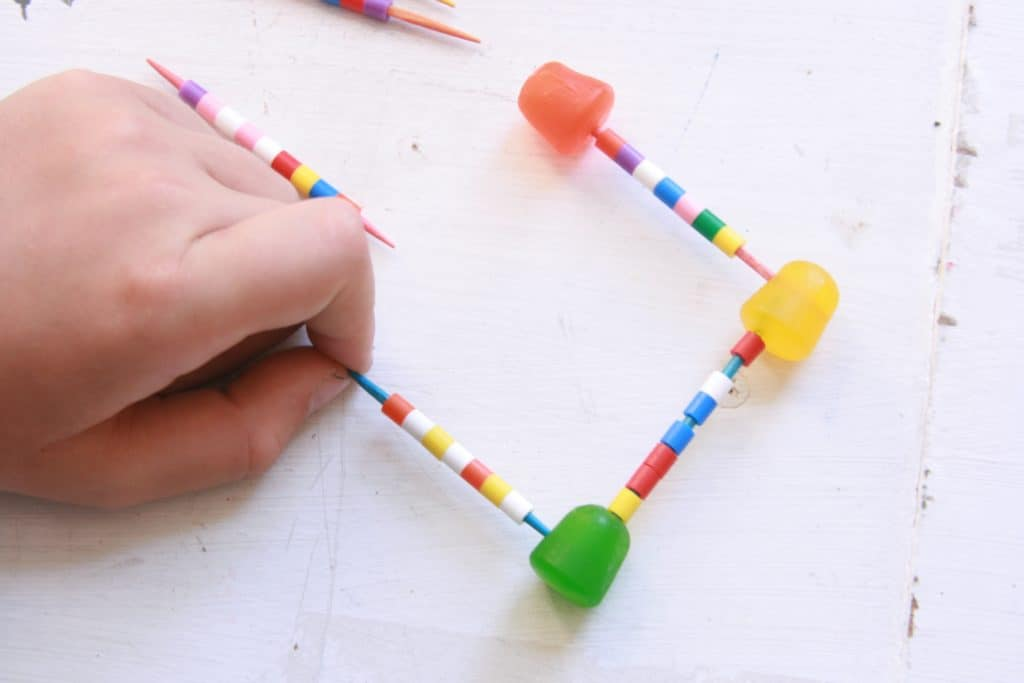 building with Perler Beads and toothpicks