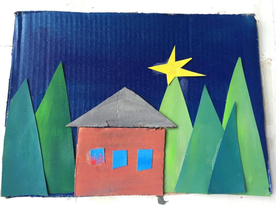 Recycled Box Art – A Winter Landscape