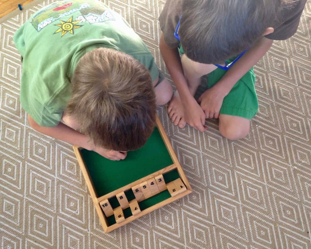 playing shut the box practicing math facts