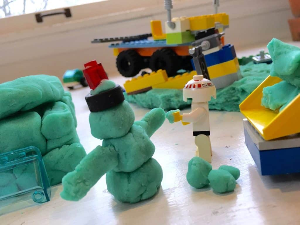 homemade playdough - a great unplugged activity for older boys, too!