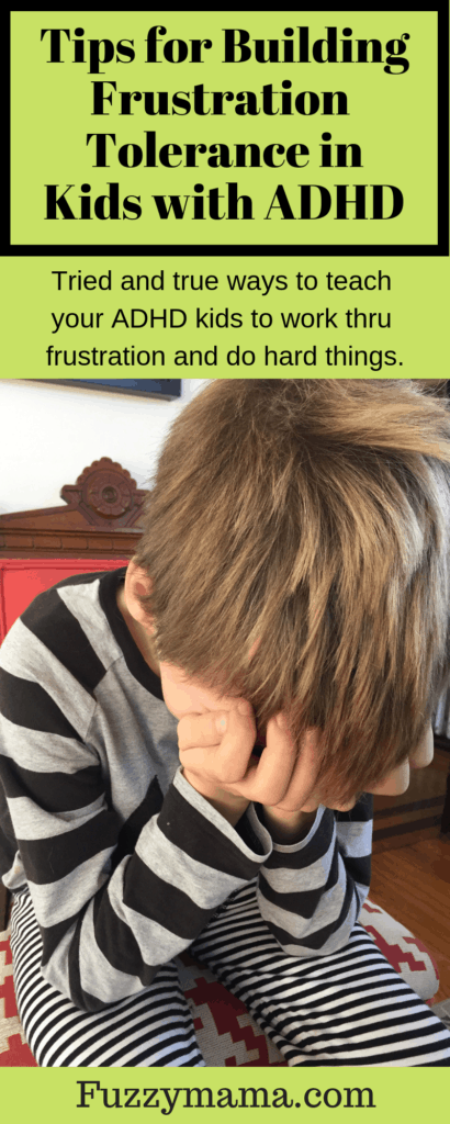 These tips for building frustration tolerance in kids with ADHD are really working for us right now. Check out these ideas to teach your ADHD kids to work thru their frustration and do hard things. Most kids with ADHD give up easily when presented with difficult situations. There are ways to help them work thru this so they will learn to tackle hard or undesirable things without a lot of emotional upset. Real life examples will help you try these frustration tolerance building tips at home.