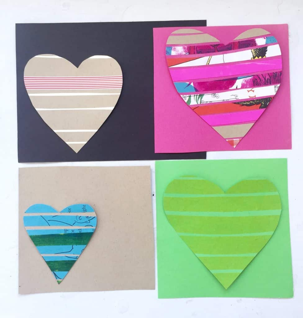 Make your own striped Valentine's using materials from your recycling bin or paper stash. These Valentines are easy to make and give to friends and family. You already have all you need to create these fun Valentine's - paper, scissors and glue!