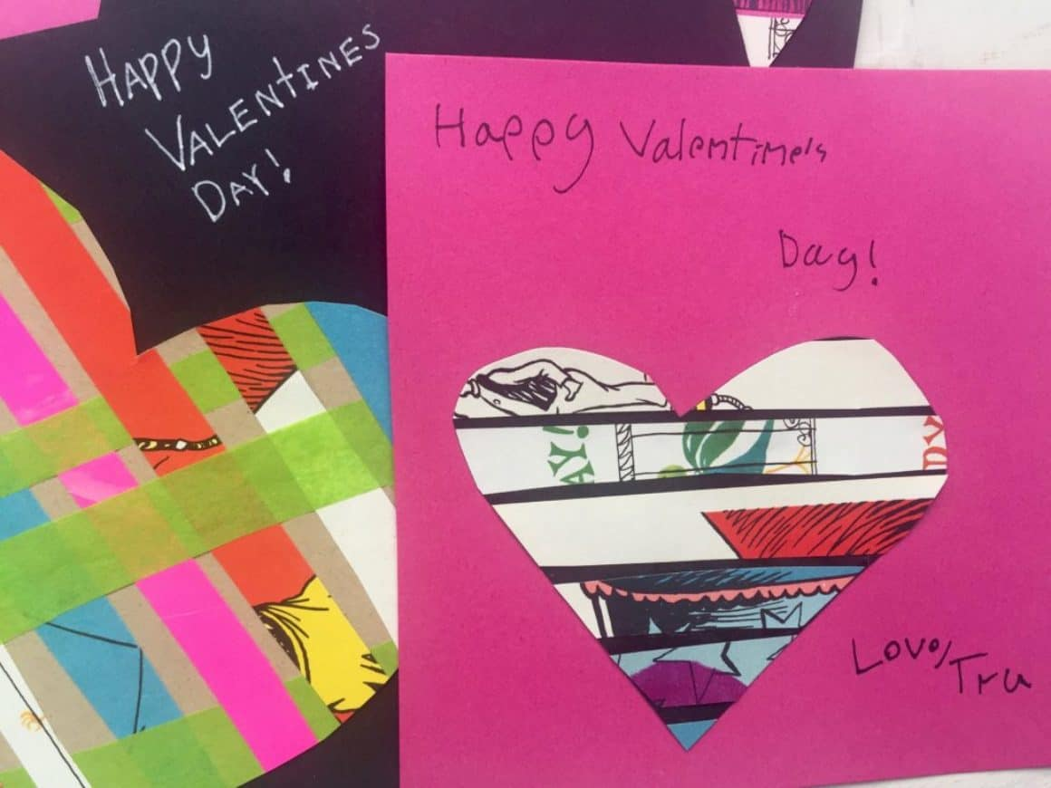 These easy recycled paper valentines are great for kids of all ages. You can make these valentines to pass out at school or to special friends and family members. I set out the invitation with all the supplies for the valentines and anyone can create them. I cut strips of paper from my stash so they are ready to go. This can be created as an art invitation for Valentine